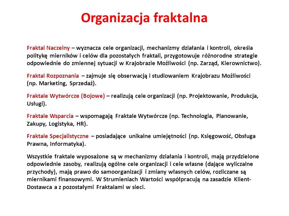 Fraktal Naczelny – wyznacza cele organizacji, mechanizmy działania i kontroli, określa politykę mierników i celów dla pozostałych fraktali, przygotowu