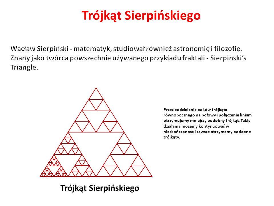 Trójkąt Sierpińskiego Przez podzielenie boków trójkąta równobocznego na połowy i połączenie liniami otrzymujemy mniejszy podobny trójkąt. Takie działa