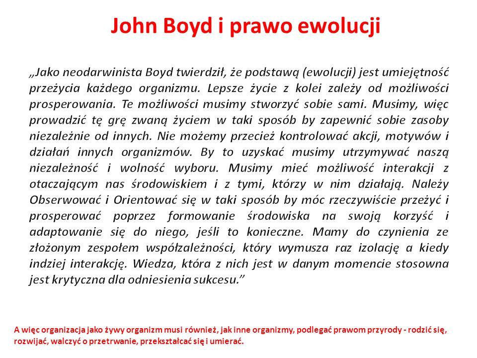 John Boyd i prawo ewolucji A więc organizacja jako żywy organizm musi również, jak inne organizmy, podlegać prawom przyrody - rodzić się, rozwijać, wa