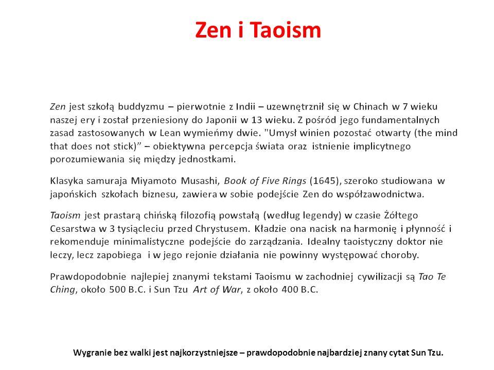 Zen i Taoism Wygranie bez walki jest najkorzystniejsze – prawdopodobnie najbardziej znany cytat Sun Tzu.