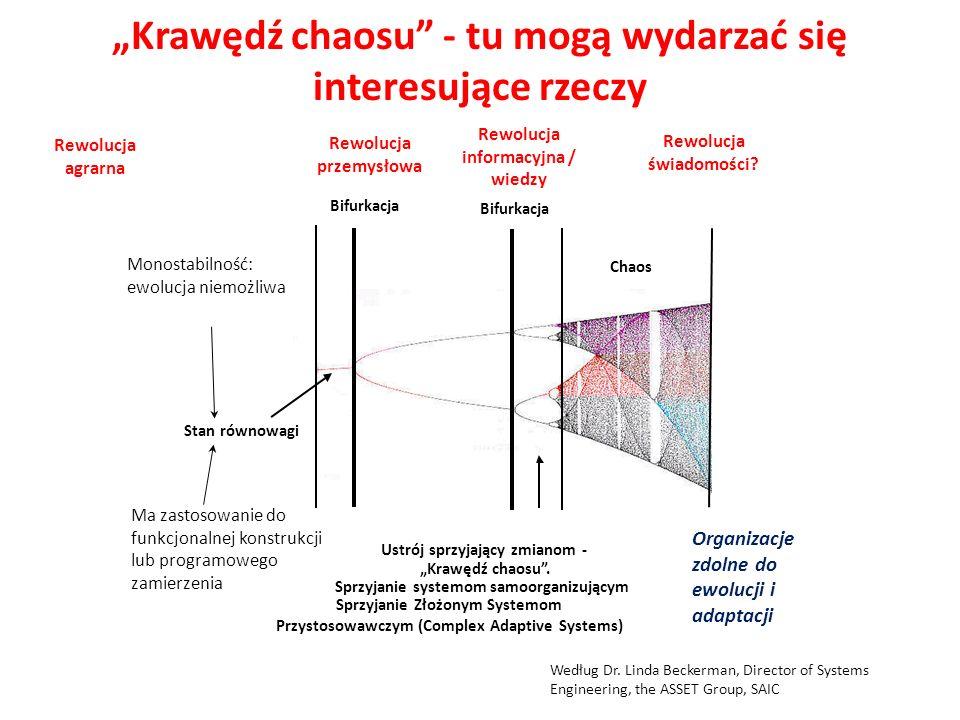 """Stan równowagi Bifurkacja Chaos Ustrój sprzyjający zmianom - """"Krawędź chaosu"""". Sprzyjanie systemom samoorganizującym Sprzyjanie Złożonym Systemom Przy"""