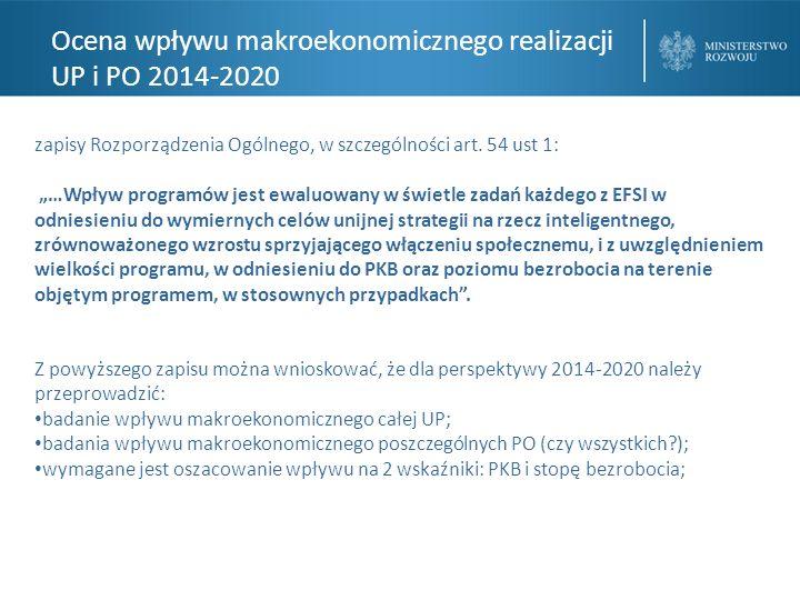 Ocena wpływu makroekonomicznego realizacji UP i PO 2014-2020 zapisy Rozporządzenia Ogólnego, w szczególności art.