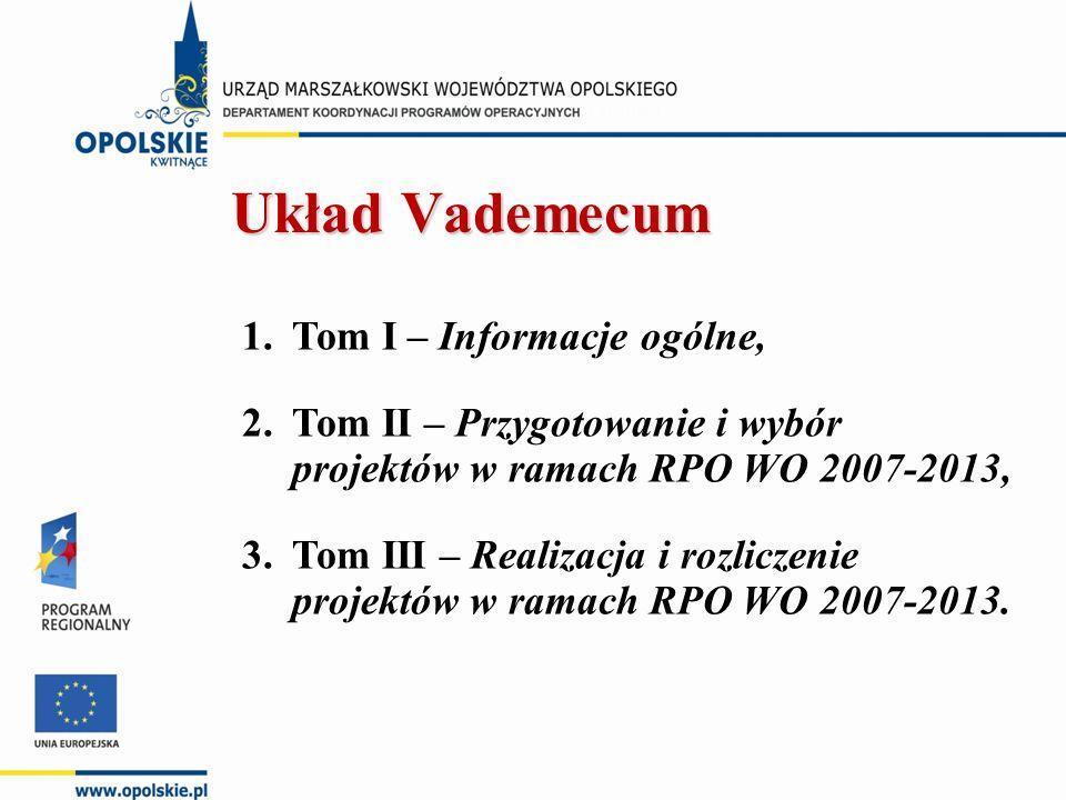 1.Tom I – Informacje ogólne, 2.Tom II – Przygotowanie i wybór projektów w ramach RPO WO 2007-2013, 3.Tom III – Realizacja i rozliczenie projektów w ra