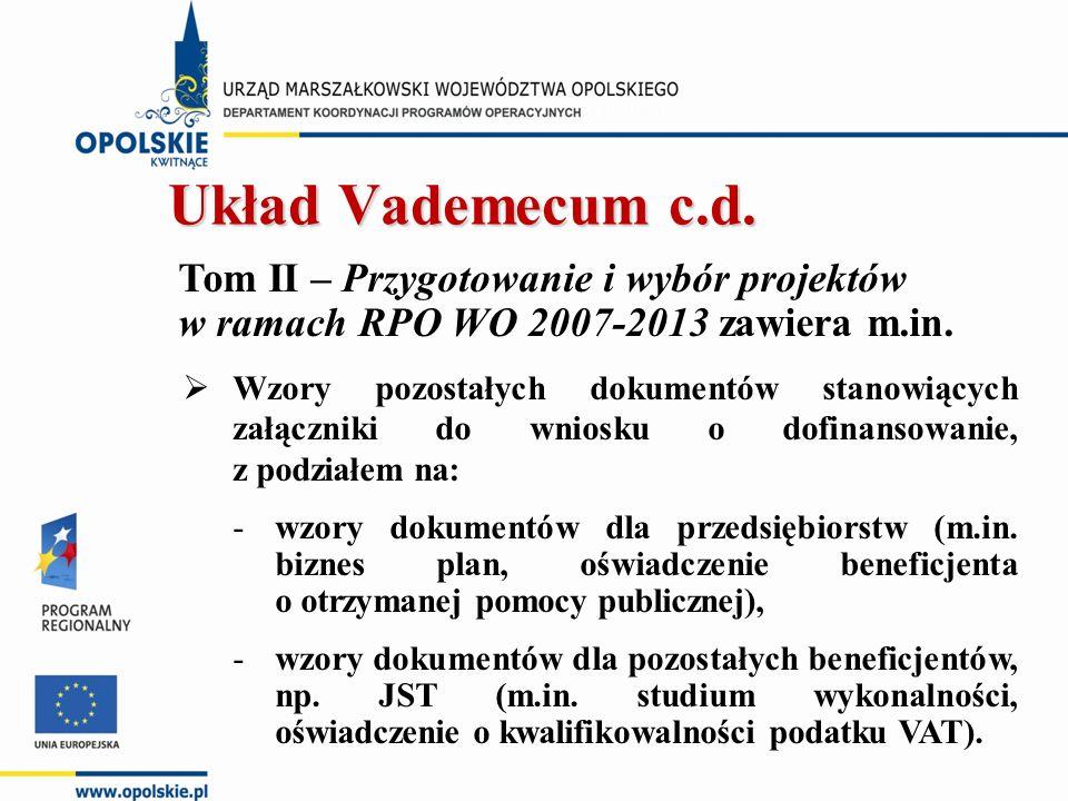 Tom II – Przygotowanie i wybór projektów w ramach RPO WO 2007-2013 zawiera m.in.  Wzory pozostałych dokumentów stanowiących załączniki do wniosku o d