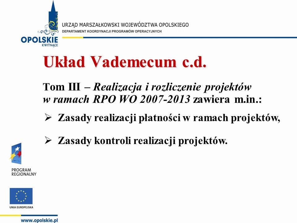 T om III – Realizacja i rozliczenie projektów w ramach RPO WO 2007-2013 zawiera m.in.:  Zasady realizacji płatności w ramach projektów,  Zasady kontroli realizacji projektów.