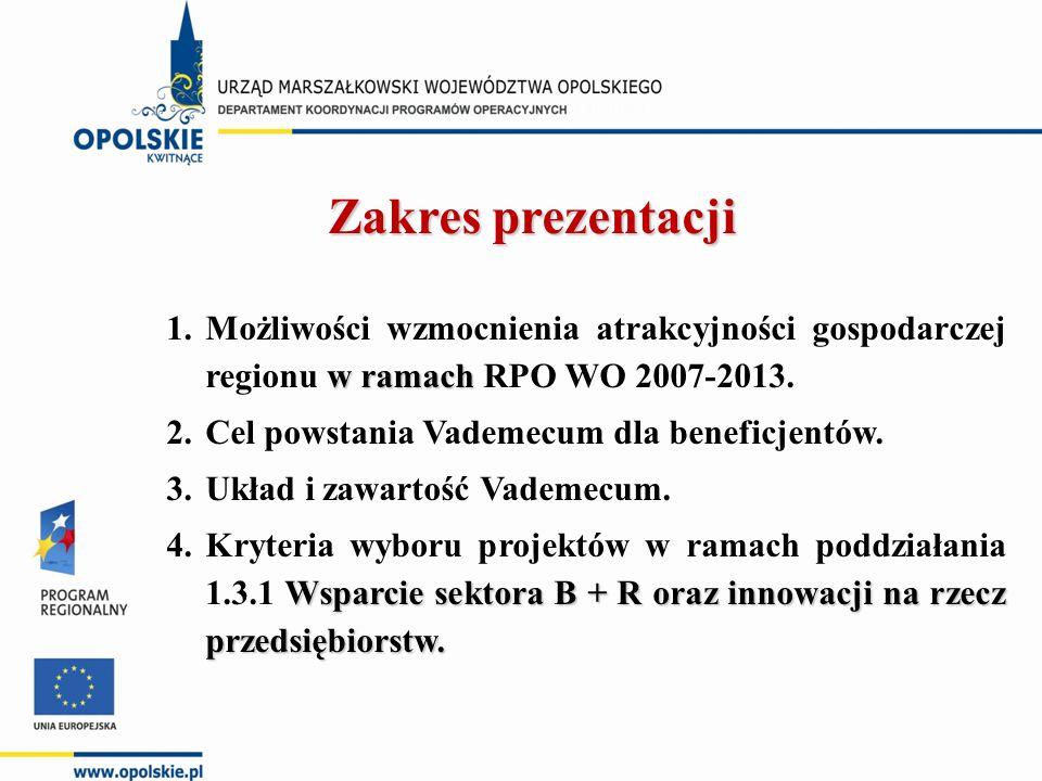 Zakres prezentacji w ramach 1.Możliwości wzmocnienia atrakcyjności gospodarczej regionu w ramach RPO WO 2007-2013. 2.Cel powstania Vademecum dla benef