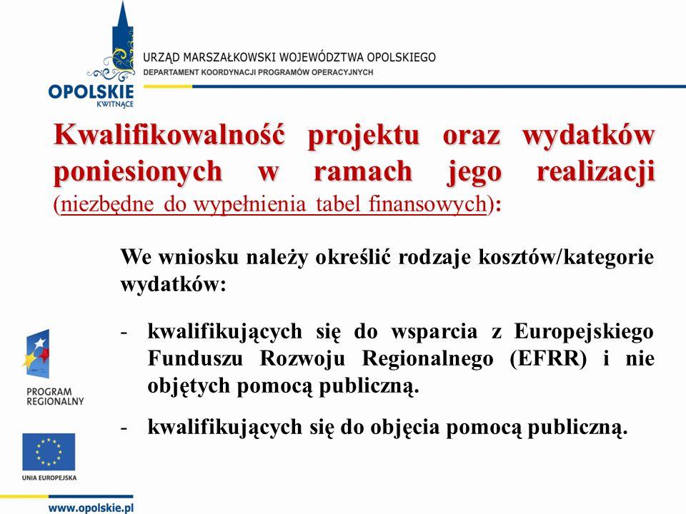 Kwalifikowalność projektu oraz wydatków poniesionych w ramach jego realizacji Kwalifikowalność projektu oraz wydatków poniesionych w ramach jego realizacji (niezbędne do wypełnienia tabel finansowych): We wniosku należy określić rodzaje kosztów/kategorie wydatków: -kwalifikujących się do wsparcia z Europejskiego Funduszu Rozwoju Regionalnego (EFRR) i nie objętych pomocą publiczną.