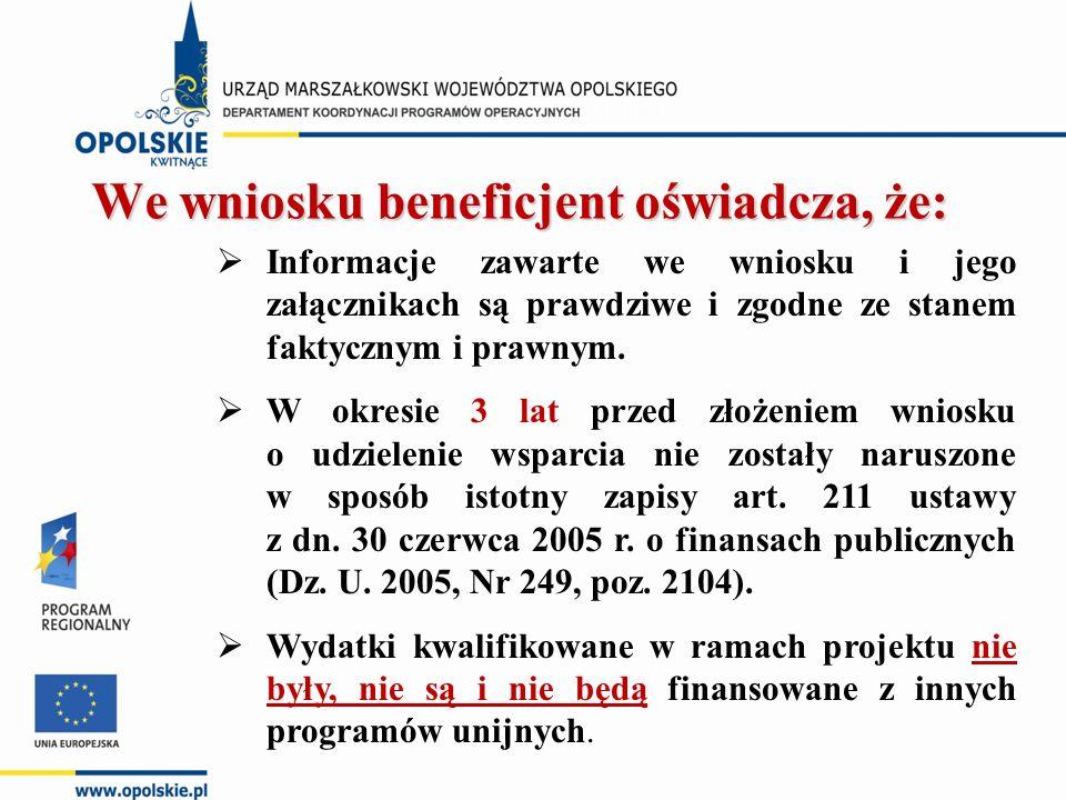  Informacje zawarte we wniosku i jego załącznikach są prawdziwe i zgodne ze stanem faktycznym i prawnym.