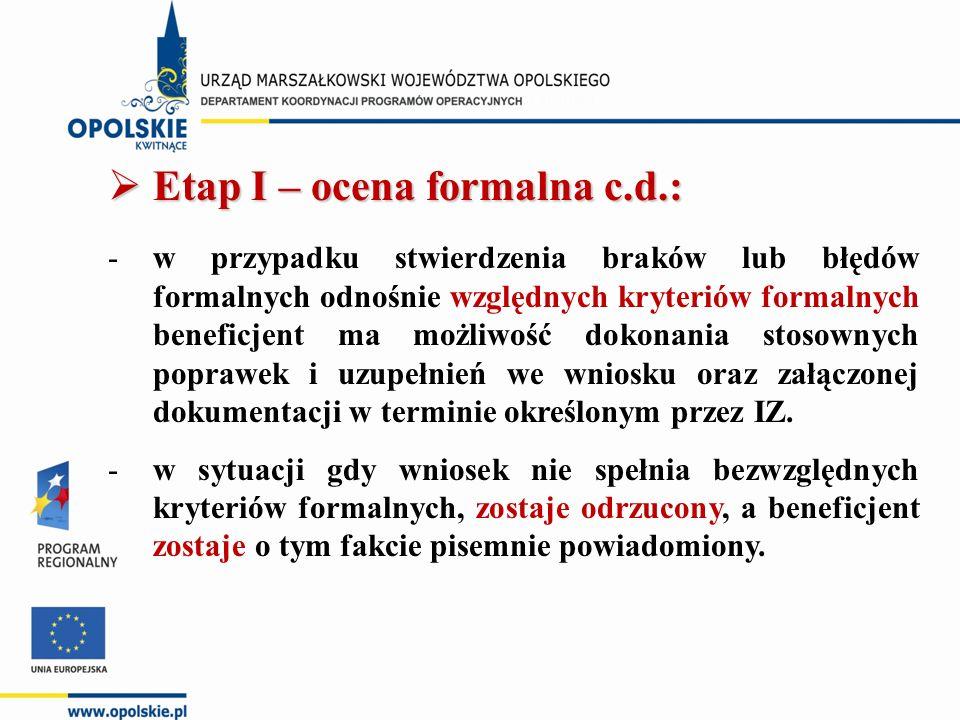  Etap I – ocena formalna c.d.: -w przypadku stwierdzenia braków lub błędów formalnych odnośnie względnych kryteriów formalnych beneficjent ma możliwość dokonania stosownych poprawek i uzupełnień we wniosku oraz załączonej dokumentacji w terminie określonym przez IZ.