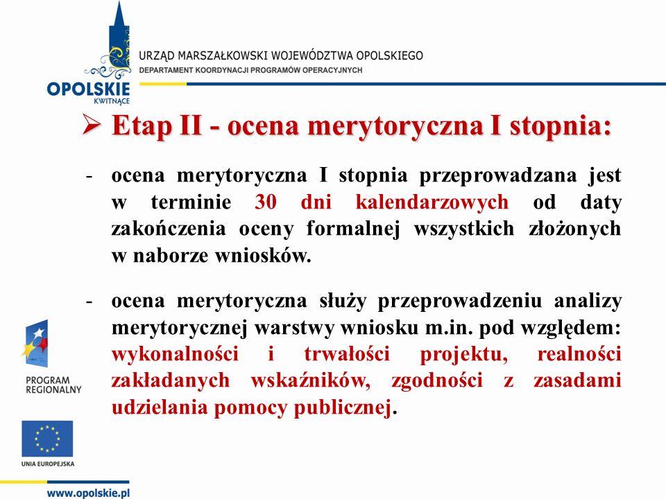 Etap II - ocena merytoryczna I stopnia: -ocena merytoryczna I stopnia przeprowadzana jest w terminie 30 dni kalendarzowych od daty zakończenia oceny formalnej wszystkich złożonych w naborze wniosków.