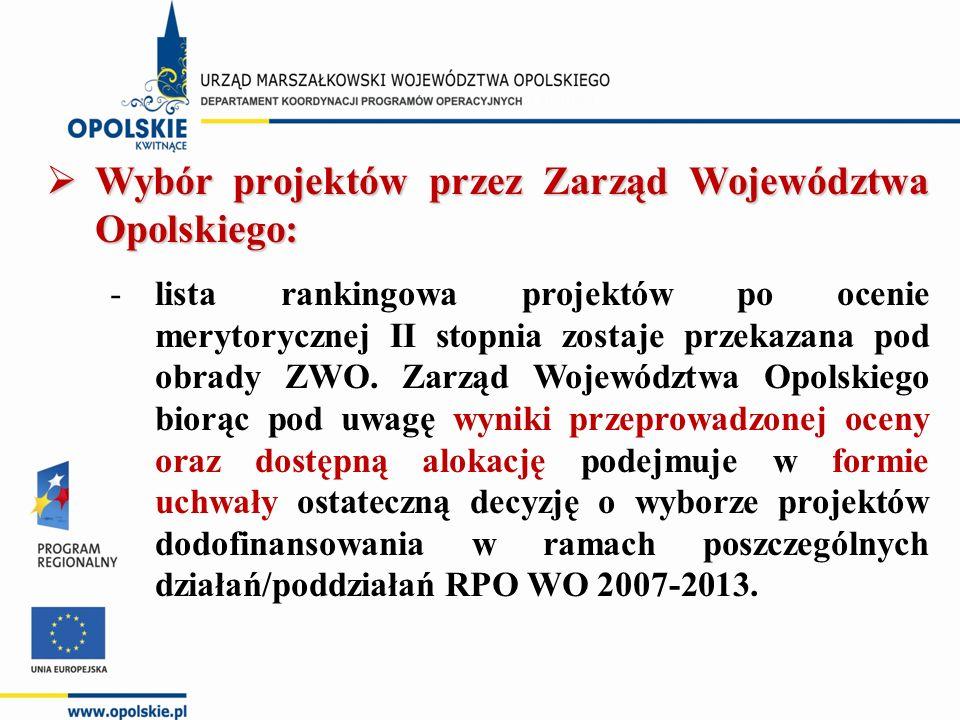  Wybór projektów przez Zarząd Województwa Opolskiego: -lista rankingowa projektów po ocenie merytorycznej II stopnia zostaje przekazana pod obrady ZW