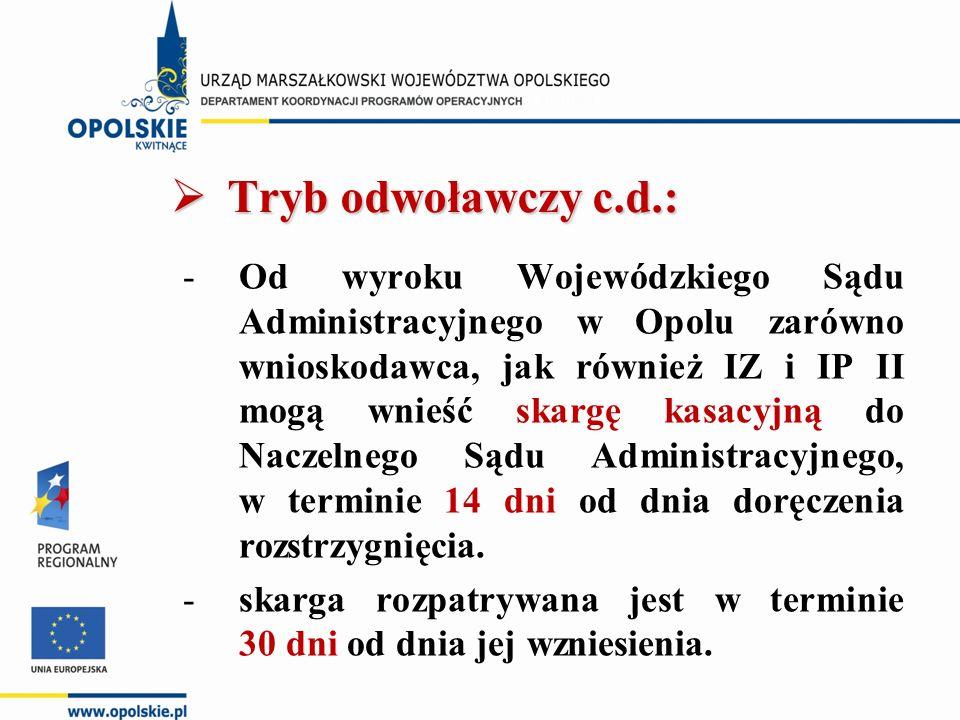  Tryb odwoławczy c.d.: -Od wyroku Wojewódzkiego Sądu Administracyjnego w Opolu zarówno wnioskodawca, jak również IZ i IP II mogą wnieść skargę kasacy