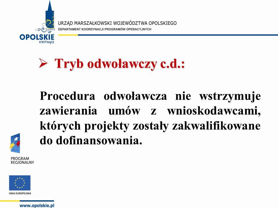  Tryb odwoławczy c.d.: Procedura odwoławcza nie wstrzymuje zawierania umów z wnioskodawcami, których projekty zostały zakwalifikowane do dofinansowan