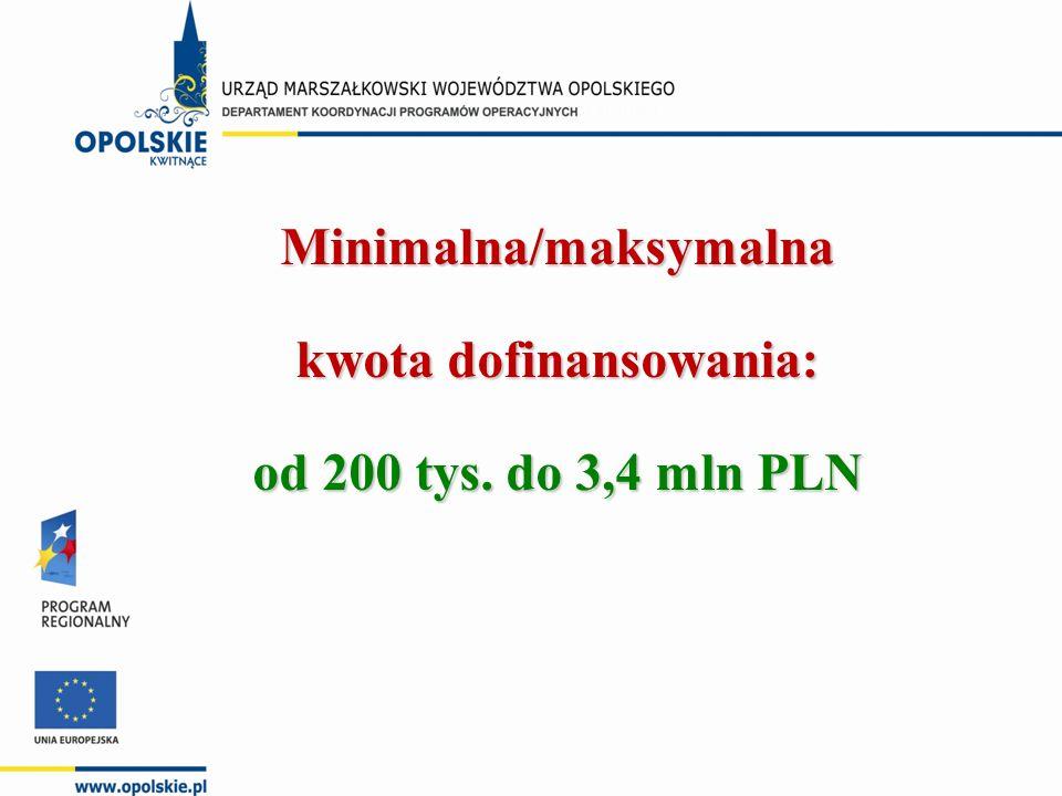 Minimalna/maksymalna kwota dofinansowania: od 200 tys. do 3,4 mln PLN