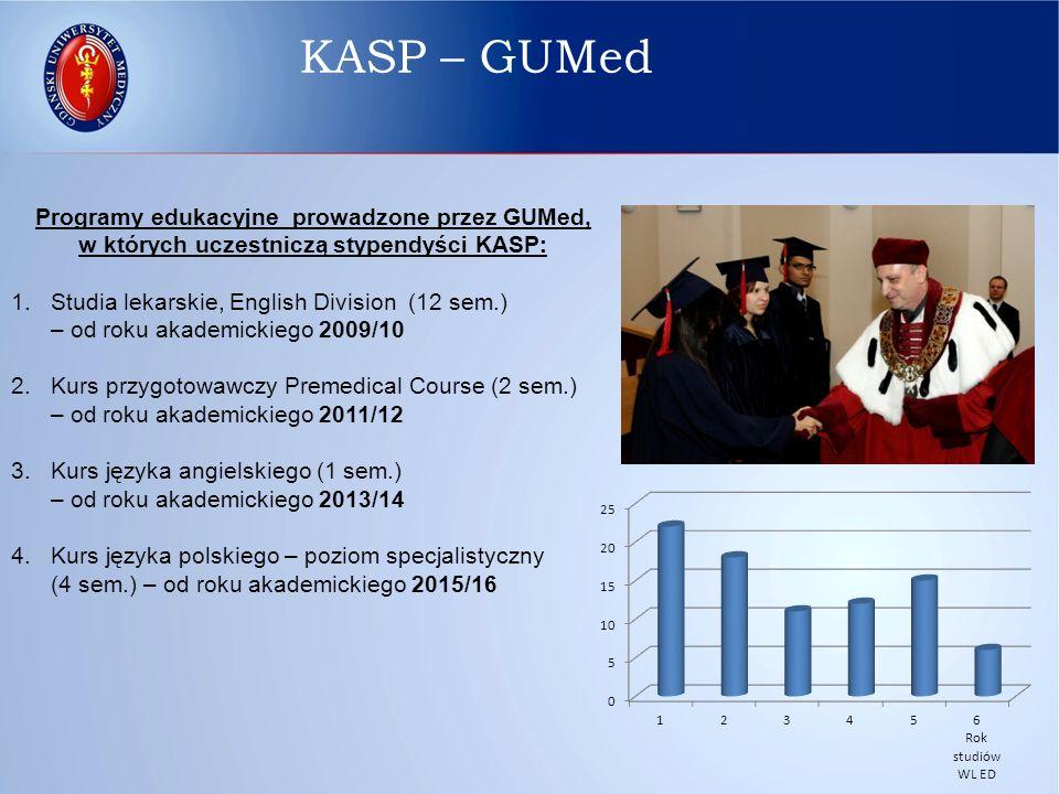 Programy edukacyjne prowadzone przez GUMed, w których uczestniczą stypendyści KASP: 1.Studia lekarskie, English Division (12 sem.) – od roku akademick