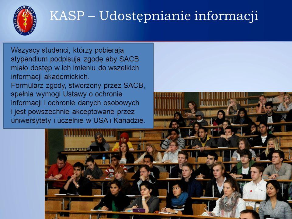 Wszyscy studenci, którzy pobierają stypendium podpisują zgodę aby SACB miało dostęp w ich imieniu do wszelkich informacji akademickich. Formularz zgod