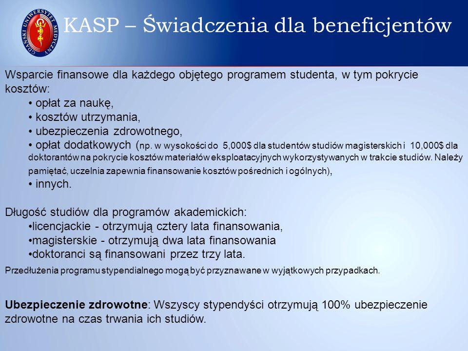 Wsparcie finansowe dla każdego objętego programem studenta, w tym pokrycie kosztów: opłat za naukę, kosztów utrzymania, ubezpieczenia zdrowotnego, opł