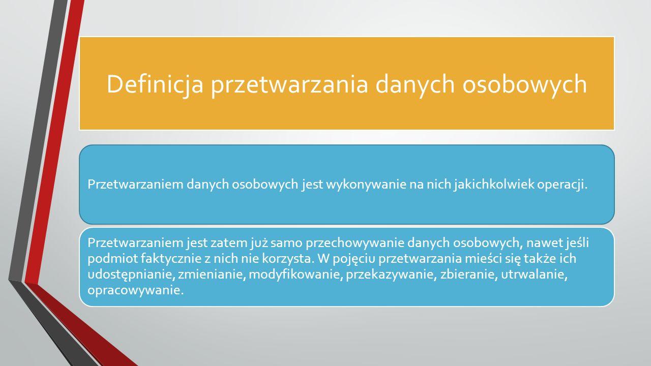Definicja przetwarzania danych osobowych Przetwarzaniem danych osobowych jest wykonywanie na nich jakichkolwiek operacji.