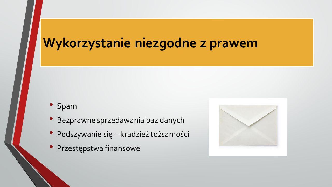 Wykorzystanie niezgodne z prawem Spam Bezprawne sprzedawania baz danych Podszywanie się – kradzież tożsamości Przestępstwa finansowe