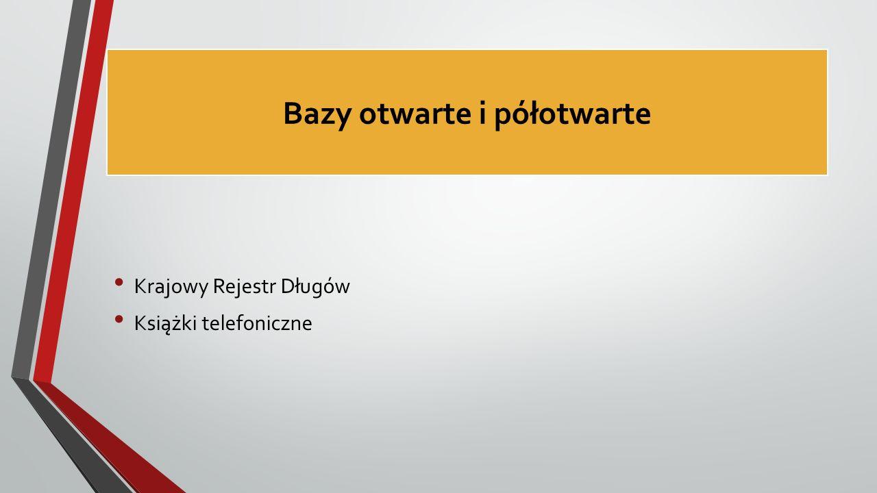 Bazy otwarte i półotwarte Krajowy Rejestr Długów Książki telefoniczne