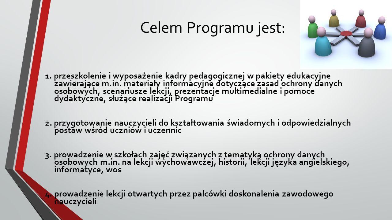 Celem Programu jest: 1. przeszkolenie i wyposażenie kadry pedagogicznej w pakiety edukacyjne zawierające m.in. materiały informacyjne dotyczące zasad