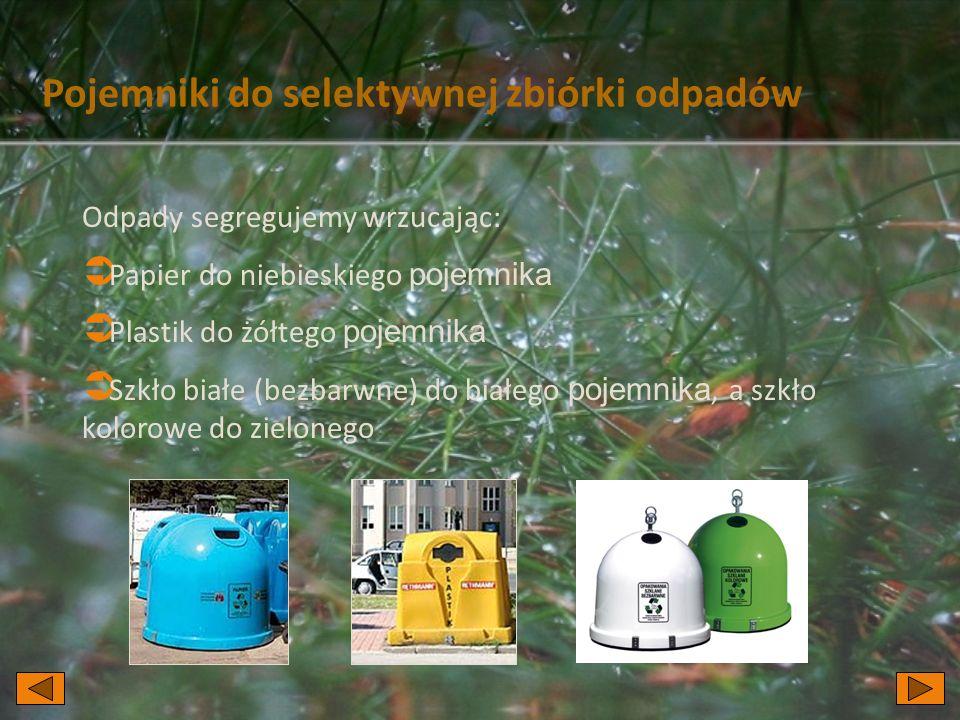 Pojemniki do selektywnej zbiórki odpadów Odpady segregujemy wrzucając:  Papier do niebieskiego pojemnika  Plastik do żółtego pojemnika  Szkło białe (bezbarwne) do białego pojemnika, a szkło kolorowe do zielonego