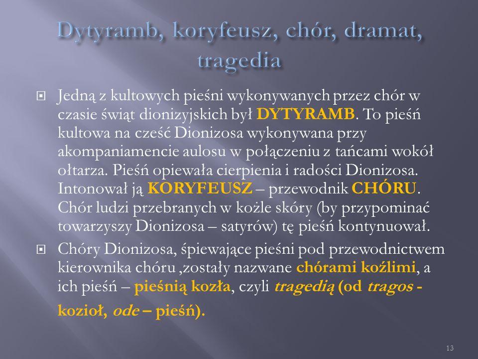  O powiązaniu tragedii z kultem Dionizosa świadczą chociażby takie fakty jak: Pierwszy teatr ateński usytuowany był obok świątyni Dionizosa i stanowił integralną część świętego kręgu, w którym chór śpiewał i tańczył.
