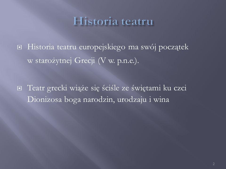  Historia teatru europejskiego ma swój początek w starożytnej Grecji (V w.