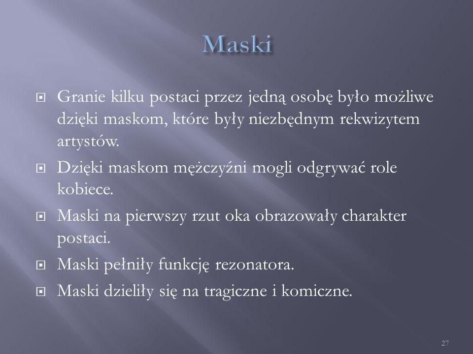  Granie kilku postaci przez jedną osobę było możliwe dzięki maskom, które były niezbędnym rekwizytem artystów.