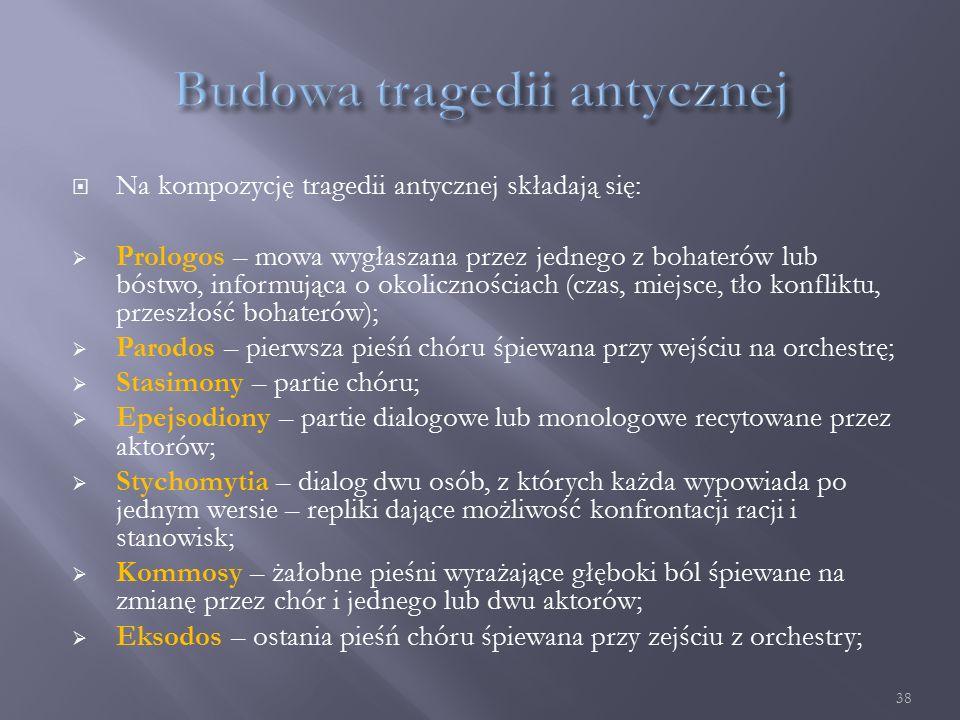  Na kompozycję tragedii antycznej składają się:  Prologos – mowa wygłaszana przez jednego z bohaterów lub bóstwo, informująca o okolicznościach (czas, miejsce, tło konfliktu, przeszłość bohaterów);  Parodos – pierwsza pieśń chóru śpiewana przy wejściu na orchestrę;  Stasimony – partie chóru;  Epejsodiony – partie dialogowe lub monologowe recytowane przez aktorów;  Stychomytia – dialog dwu osób, z których każda wypowiada po jednym wersie – repliki dające możliwość konfrontacji racji i stanowisk;  Kommosy – żałobne pieśni wyrażające głęboki ból śpiewane na zmianę przez chór i jednego lub dwu aktorów;  Eksodos – ostania pieśń chóru śpiewana przy zejściu z orchestry; 38