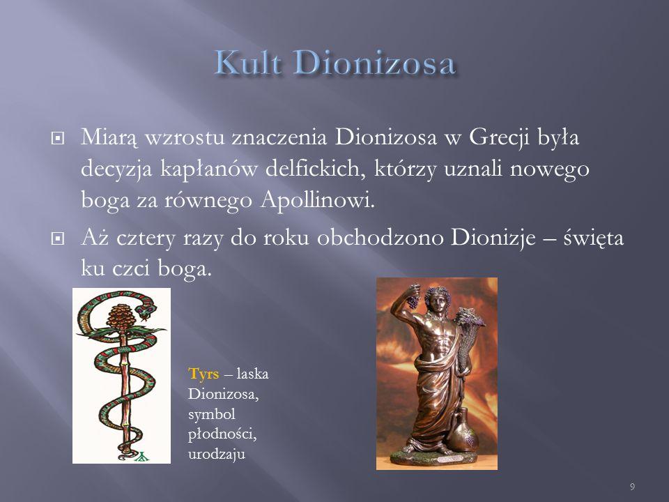  Miarą wzrostu znaczenia Dionizosa w Grecji była decyzja kapłanów delfickich, którzy uznali nowego boga za równego Apollinowi.