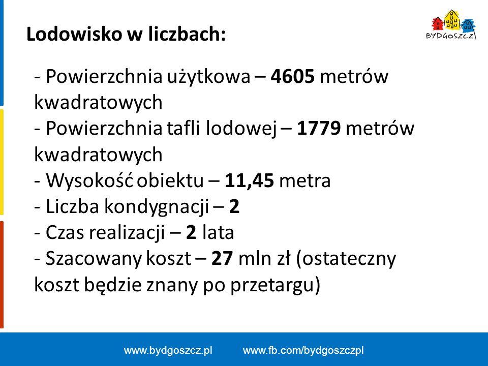 www.bydgoszcz.pl www.fb.com/bydgoszczpl Lodowisko w liczbach: - Powierzchnia użytkowa – 4605 metrów kwadratowych - Powierzchnia tafli lodowej – 1779 metrów kwadratowych - Wysokość obiektu – 11,45 metra - Liczba kondygnacji – 2 - Czas realizacji – 2 lata - Szacowany koszt – 27 mln zł (ostateczny koszt będzie znany po przetargu)