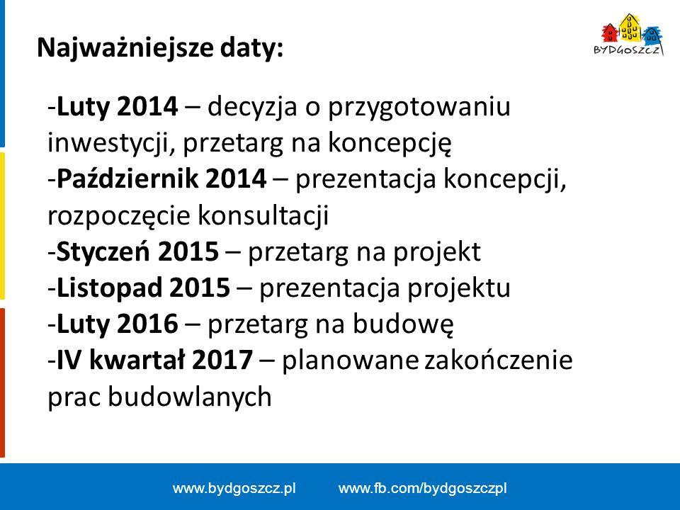 www.bydgoszcz.pl www.fb.com/bydgoszczpl Najważniejsze daty: -Luty 2014 – decyzja o przygotowaniu inwestycji, przetarg na koncepcję -Październik 2014 –