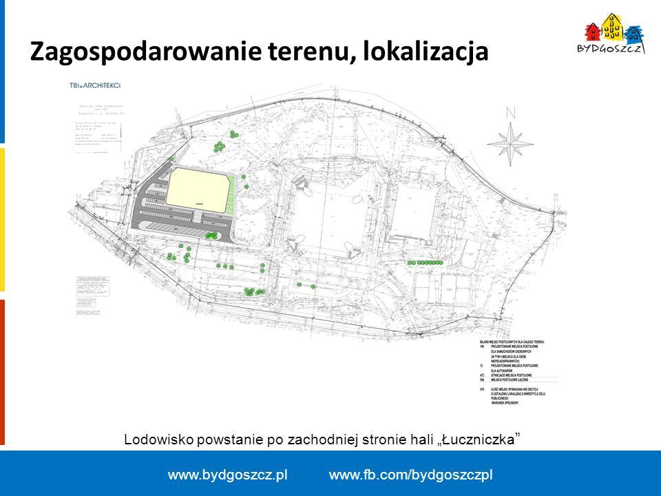 """www.bydgoszcz.pl www.fb.com/bydgoszczpl Zagospodarowanie terenu, lokalizacja Lodowisko powstanie po zachodniej stronie hali """"Łuczniczka"""