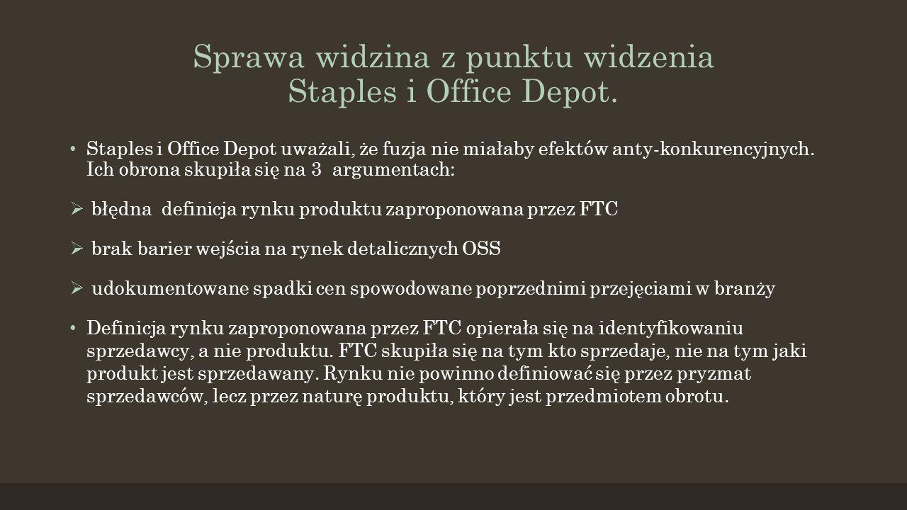 Sprawa widzina z punktu widzenia Staples i Office Depot.
