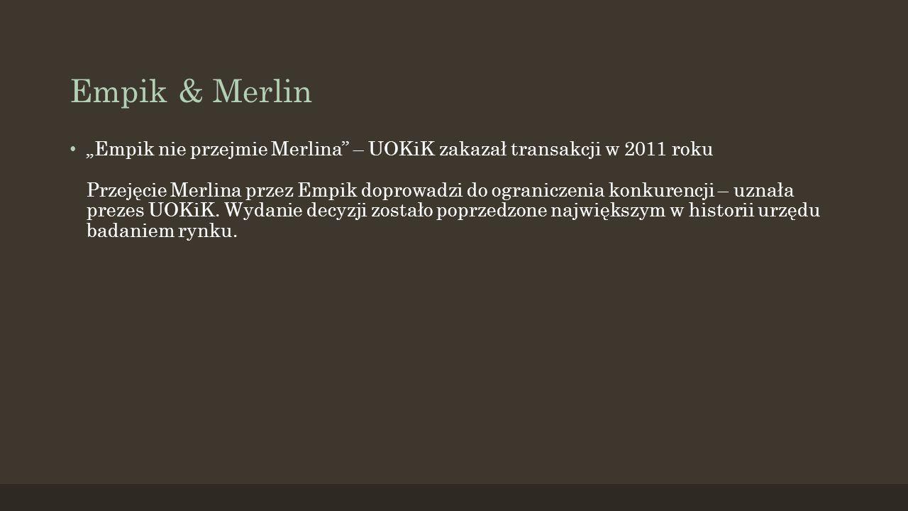 """Empik & Merlin """"Empik nie przejmie Merlina – UOKiK zakazał transakcji w 2011 roku Przejęcie Merlina przez Empik doprowadzi do ograniczenia konkurencji – uznała prezes UOKiK."""