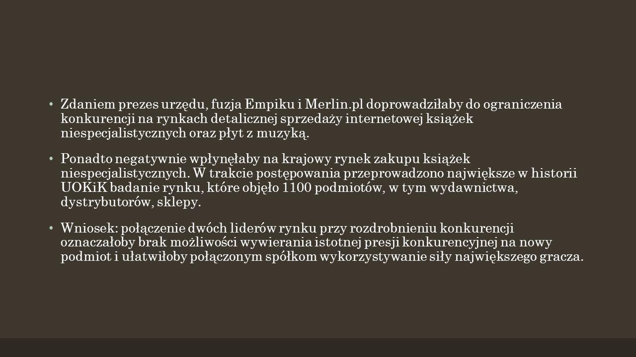 Zdaniem prezes urzędu, fuzja Empiku i Merlin.pl doprowadziłaby do ograniczenia konkurencji na rynkach detalicznej sprzedaży internetowej książek niespecjalistycznych oraz płyt z muzyką.