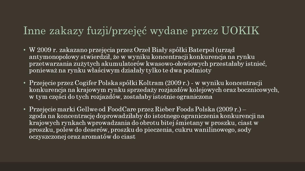Inne zakazy fuzji/przejęć wydane przez UOKIK W 2009 r.