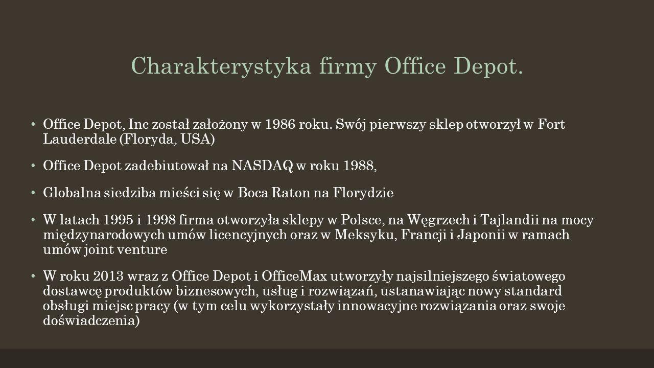 Charakterystyka firmy Office Depot.Office Depot, Inc został założony w 1986 roku.