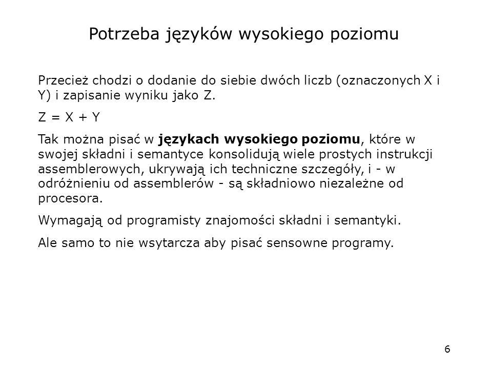 6 Potrzeba języków wysokiego poziomu Przecież chodzi o dodanie do siebie dwóch liczb (oznaczonych X i Y) i zapisanie wyniku jako Z. Z = X + Y Tak możn