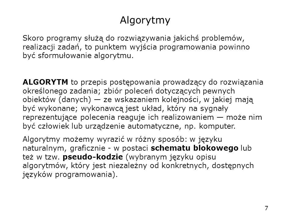 7 Algorytmy Skoro programy służą do rozwiązywania jakichś problemów, realizacji zadań, to punktem wyjścia programowania powinno być sformułowanie algorytmu.