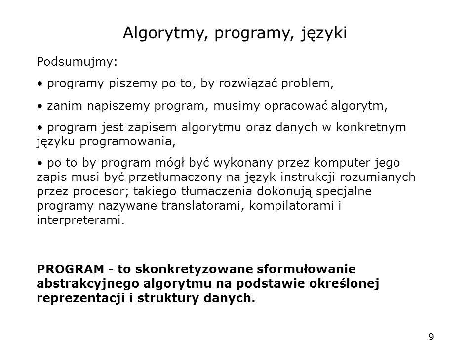 9 Algorytmy, programy, języki Podsumujmy: programy piszemy po to, by rozwiązać problem, zanim napiszemy program, musimy opracować algorytm, program jest zapisem algorytmu oraz danych w konkretnym języku programowania, po to by program mógł być wykonany przez komputer jego zapis musi być przetłumaczony na język instrukcji rozumianych przez procesor; takiego tłumaczenia dokonują specjalne programy nazywane translatorami, kompilatorami i interpreterami.
