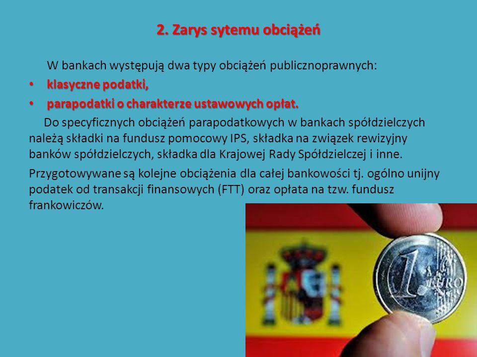 2. Zarys sytemu obciążeń W bankach występują dwa typy obciążeń publicznoprawnych: klasyczne podatki, klasyczne podatki, parapodatki o charakterze usta