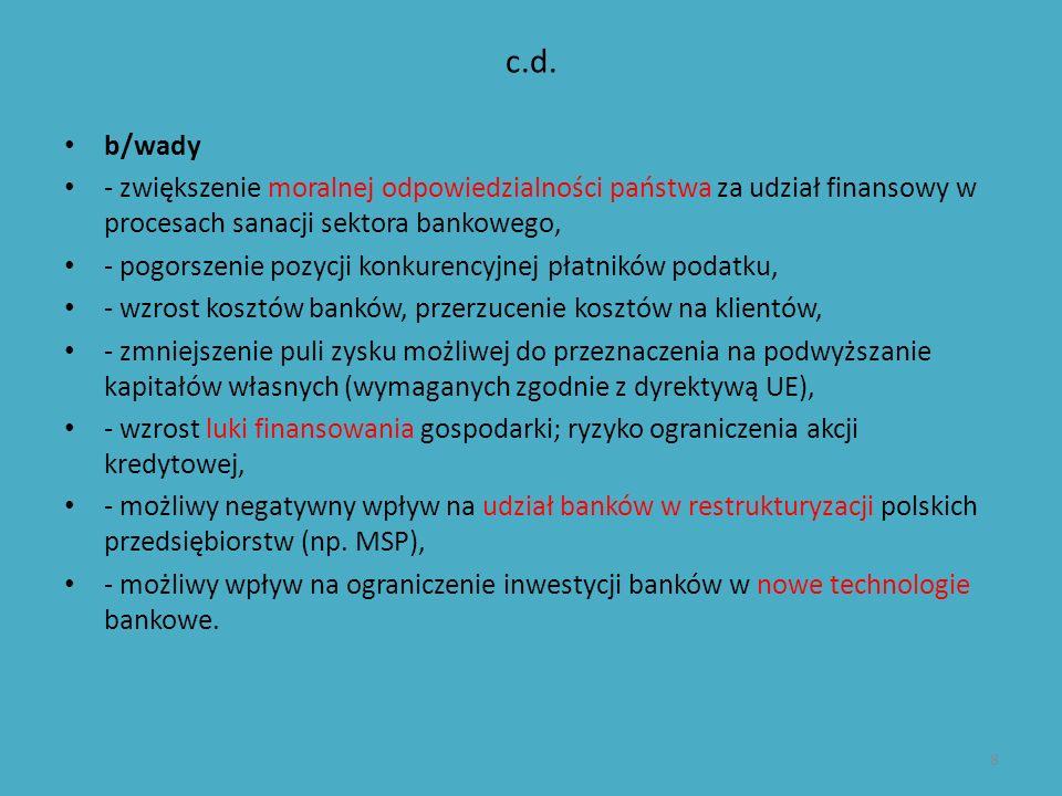 c.d. b/wady - zwiększenie moralnej odpowiedzialności państwa za udział finansowy w procesach sanacji sektora bankowego, - pogorszenie pozycji konkuren
