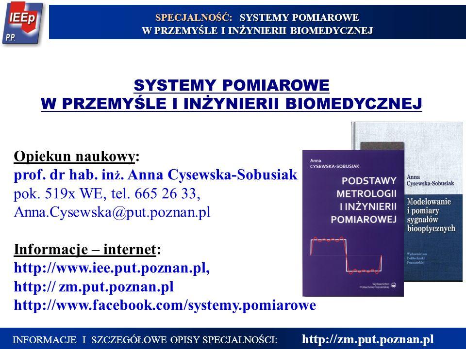 INFORMACJE I SZCZEGÓŁOWE OPISY SPECJALNOŚCI: http://zm.put.poznan.pl SYSTEMY POMIAROWE W PRZEMYŚLE I INŻYNIERII BIOMEDYCZNEJ Opiekun naukowy: prof. dr