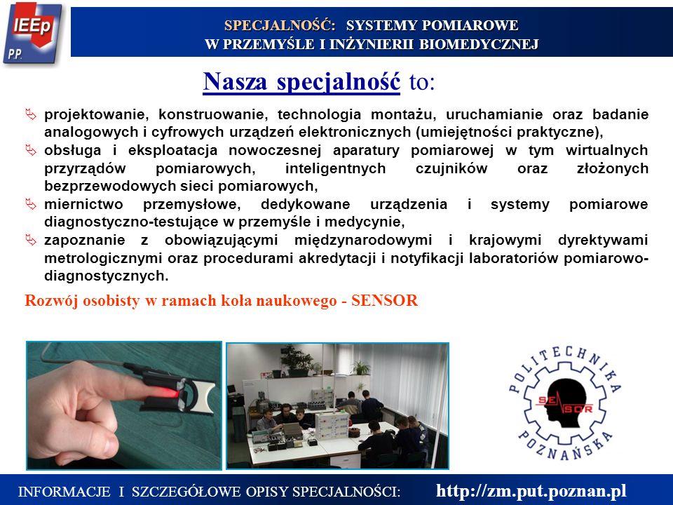 INFORMACJE I SZCZEGÓŁOWE OPISY SPECJALNOŚCI: http://zm.put.poznan.pl  projektowanie, konstruowanie, technologia montażu, uruchamianie oraz badanie an