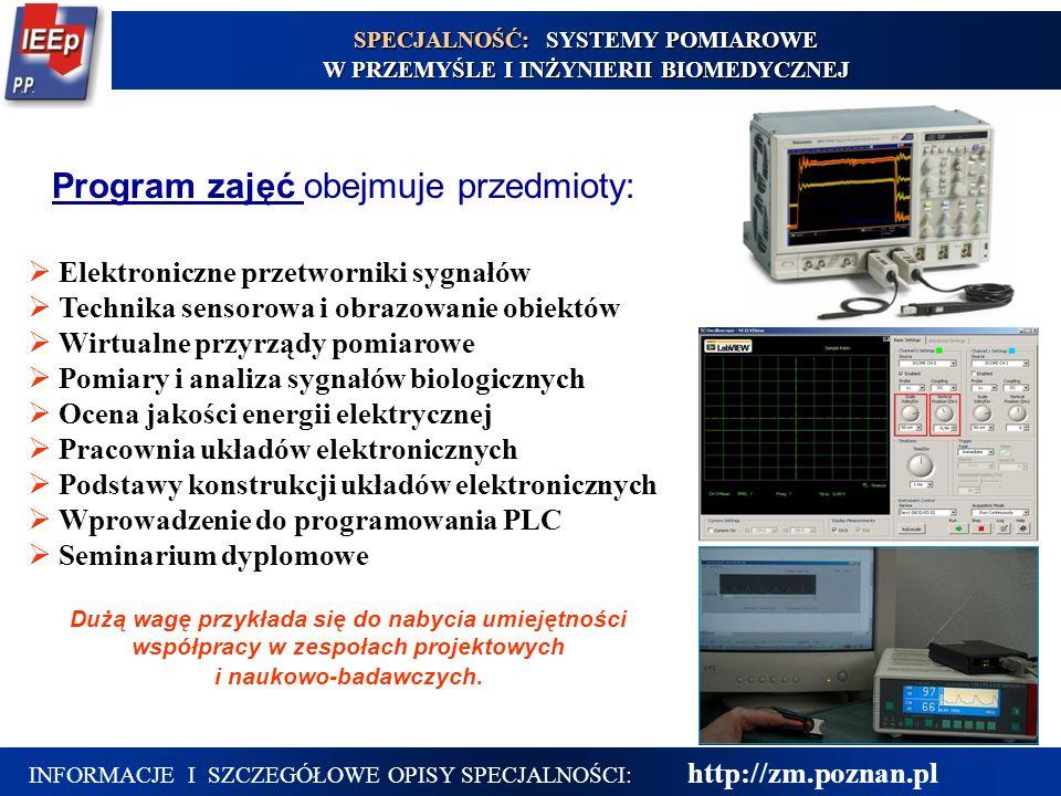 15  Elektroniczne przetworniki sygnałów  Technika sensorowa i obrazowanie obiektów  Wirtualne przyrządy pomiarowe  Pomiary i analiza sygnałów biol
