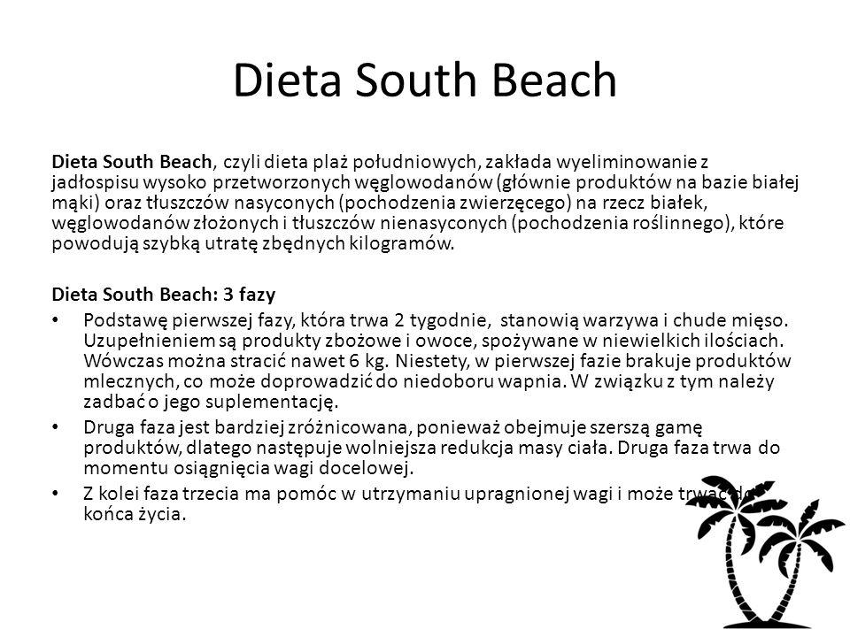Dieta South Beach Dieta South Beach, czyli dieta plaż południowych, zakłada wyeliminowanie z jadłospisu wysoko przetworzonych węglowodanów (głównie pr