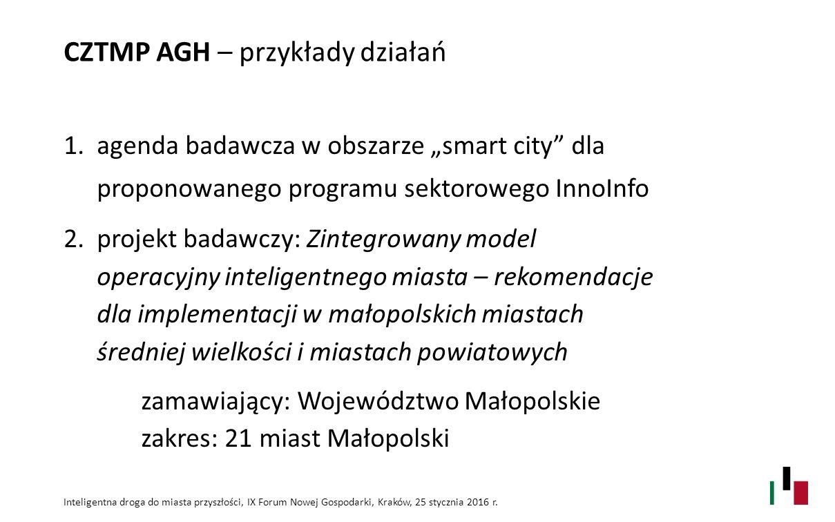 CZTMP AGH – przykłady działań Inteligentna droga do miasta przyszłości, IX Forum Nowej Gospodarki, Kraków, 25 stycznia 2016 r. 1.agenda badawcza w obs