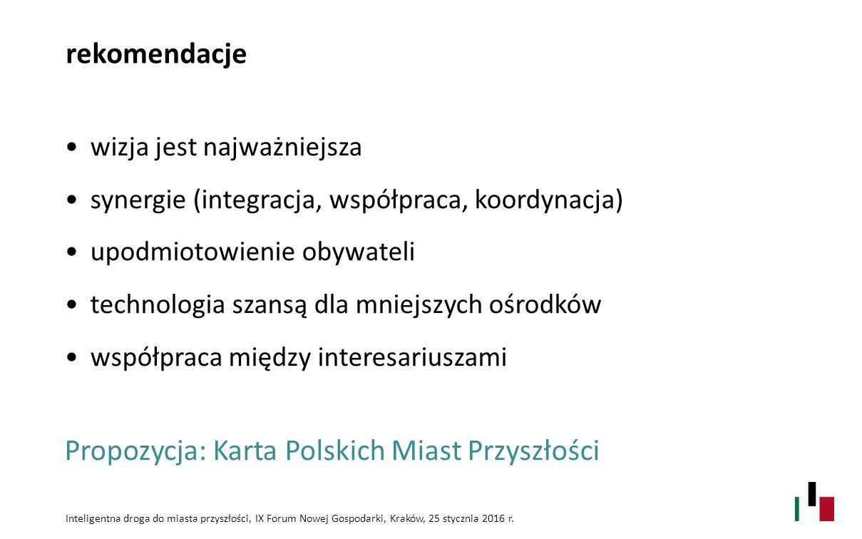 rekomendacje wizja jest najważniejsza synergie (integracja, współpraca, koordynacja) upodmiotowienie obywateli technologia szansą dla mniejszych ośrodków współpraca między interesariuszami Inteligentna droga do miasta przyszłości, IX Forum Nowej Gospodarki, Kraków, 25 stycznia 2016 r.